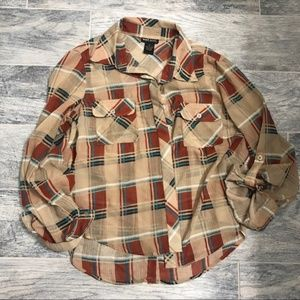 Plaid Wet Seal Sheer Button Down Blouse - M